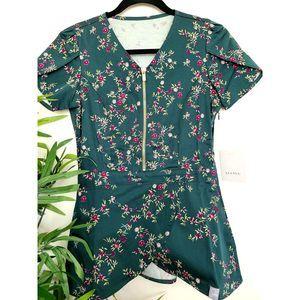 Jaanu Green Floral Scrub Top Gld Zip XXS
